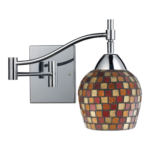 """22"""" ELK Lighting Celina 1-Light Swingarm Wall Lamp in Chrome with Multi-colored Mosaic Glass, Transitional - 1"""