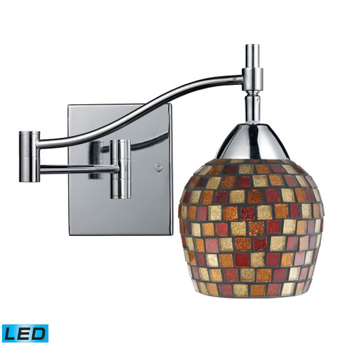 """22"""" ELK Lighting Celina 1-Light Swingarm Wall Lamp in Chrome with Multi-colored Mosaic Glass - Includes LED Bulb, Transitional - 1"""