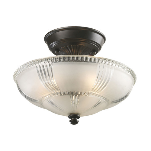 "12"" ELK Lighting Restoration 3-Light Semi Flush in Oiled Bronze with Clear and Frosted Glass, Traditional - 1"