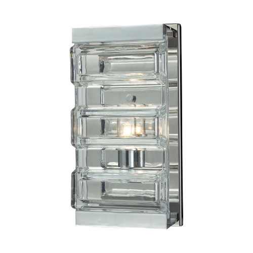 "11"" ELK Lighting Corrugated Glass 1-Light Vanity Sconce in Polished Chrome with Clear Glass, Modern / Contemporary - 1"