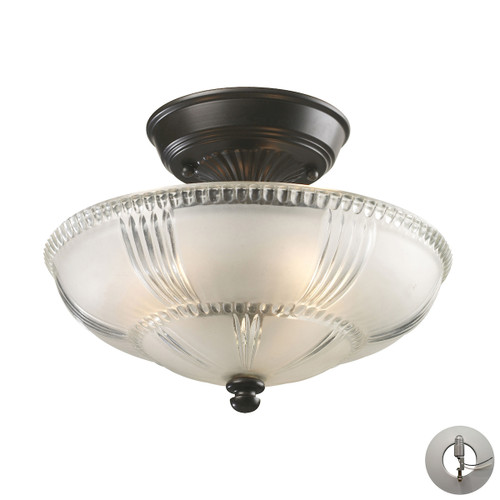"12"" ELK Lighting Restoration 3-Light Semi Flush in Oiled Bronze with Clear and Frosted Glass - Includes Adapter Kit, Traditional - 1"