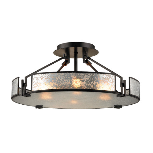 "21"" ELK Lighting Lindhurst 4-Light Semi Flush in Oil Rubbed Bronze with Glass Panels, Modern / Contemporary - 1"
