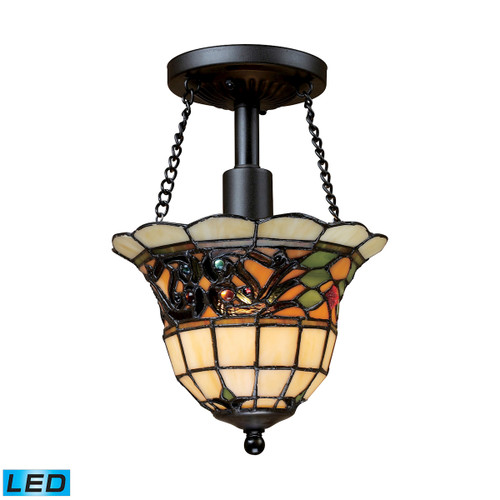 "11"" ELK Lighting Tiffany Buckingham 1-Light Semi Flush in Vintage Antique - Includes LED Bulb, Traditional - 1"
