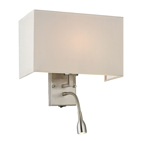 "15"" ELK Lighting Dixon 1+1-Light Wall Lamp in Brushed Nickel with Diffuser, Transitional - 1"