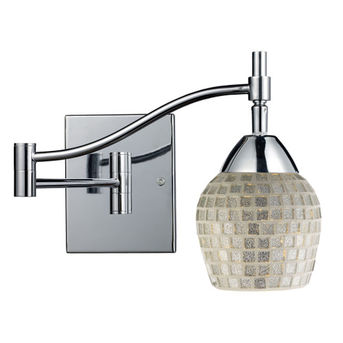 """22"""" ELK Lighting Celina 1-Light Swingarm Wall Lamp in Chrome with Silver Glass, Transitional - 1"""