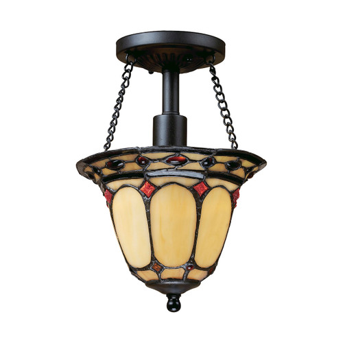 "11"" ELK Lighting Diamond Ring 1-Light Semi Flush in Copper with Tiffany Style Glass, Traditional - 1"