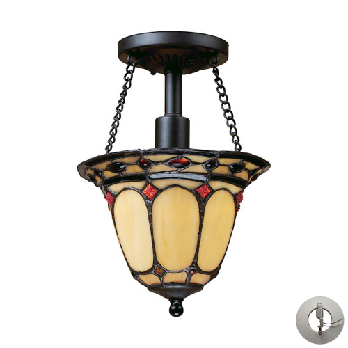 "11"" ELK Lighting Diamond Ring 1-Light Semi Flush in Copper with Tiffany Style Glass - Includes Adapter Kit, Traditional - 1"