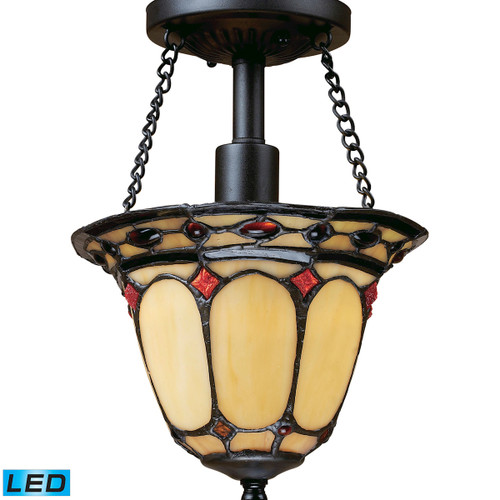 "11"" ELK Lighting Diamond Ring 1-Light Semi Flush in Copper with Tiffany Style Glass - Includes LED Bulb, Traditional - 1"