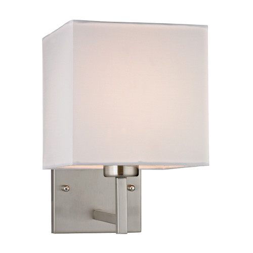 "10"" ELK Lighting Davis 1-Light Wall Lamp in Brushed Nickel with White Fabric Shade, Transitional - 1"