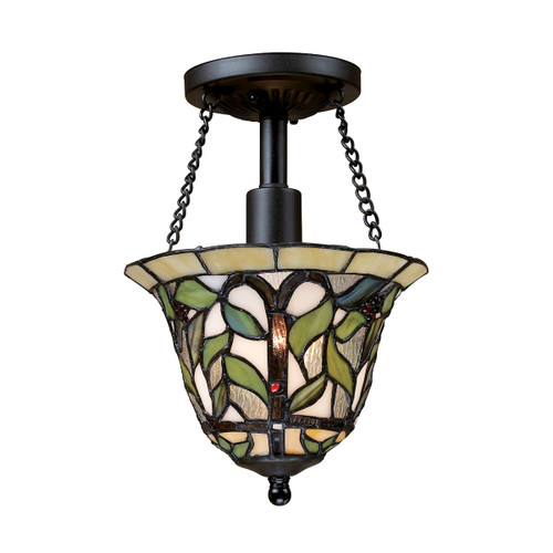 "11"" ELK Lighting Latham 1-Light Semi Flush in Tiffany Bronze with Tiffany Style Glass, Traditional - 1"