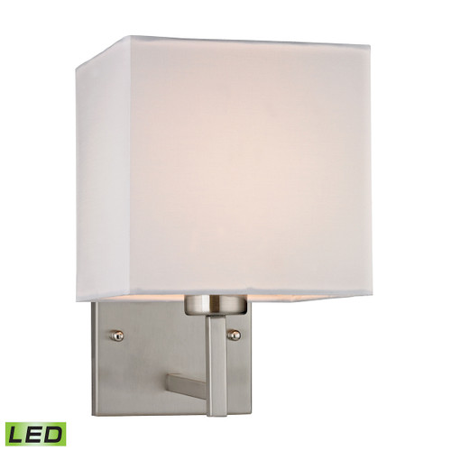 """10"""" ELK Lighting Davis 1-Light Wall Lamp in Brushed Nickel with White Fabric Shade - Includes LED Bulb, Transitional - 1"""