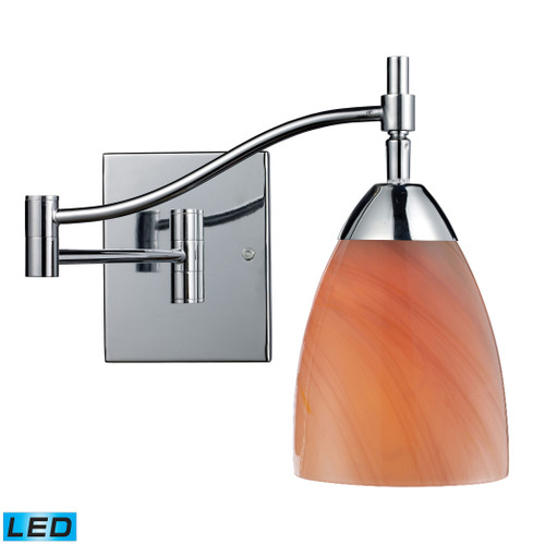 """22"""" ELK Lighting Celina 1-Light Swingarm Wall Lamp in Chrome with Sandy Swirled Glass - Includes LED Bulb, Transitional - 1"""