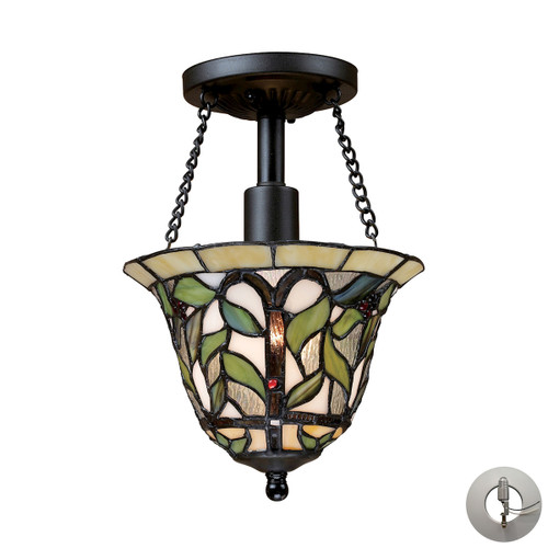 "11"" ELK Lighting Latham 1-Light Semi Flush in Tiffany Bronze with Tiffany Style Glass - Includes Adapter Kit, Traditional - 1"