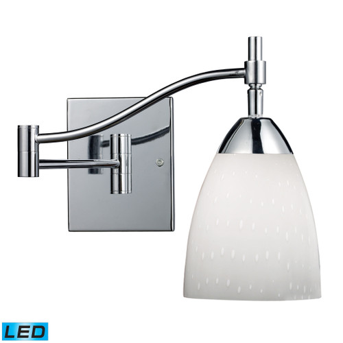 """22"""" ELK Lighting Celina 1-Light Swingarm Wall Lamp in Chrome with Simple White Glass - Includes LED Bulb, Transitional - 1"""