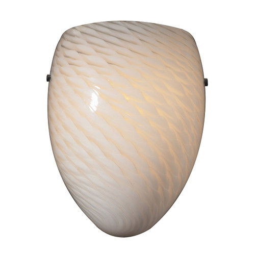 "10"" ELK Lighting Arco Baleno 1-Light Sconce in Satin Nickel with White Swirl Glass, Transitional - 1"
