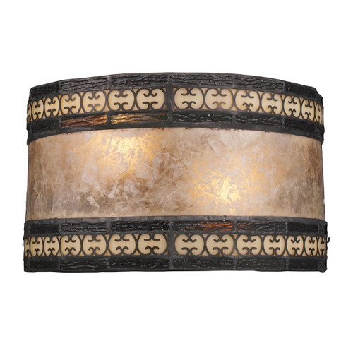 "10"" ELK Lighting Mica Filigree 2-Light Sconce in Tiffany Bronze with Mica Shade, Traditional - 1"