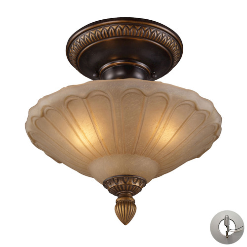 "12"" ELK Lighting Restoration 3-Light Semi Flush in Golden Bronze with Amber Glass - Includes Adapter Kit, Traditional - 1"