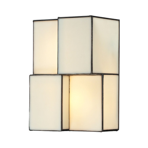 "10"" ELK Lighting Cubist 2-Light Sconce in Brushed Nickel with White Tiffany Glass, Modern / Contemporary - 1"