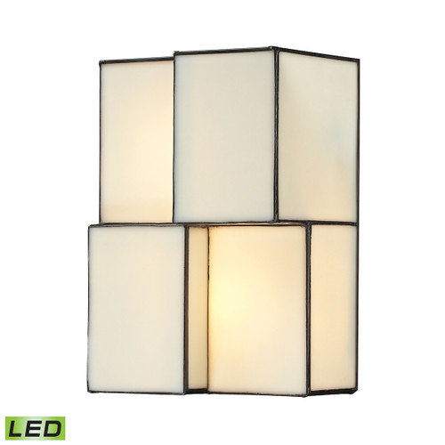 """10"""" ELK Lighting Cubist 2-Light Sconce in Brushed Nickel with White Tiffany Glass - Includes LED Bulbs, Modern / Contemporary - 1"""