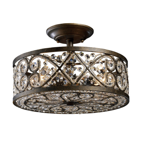 "13"" ELK Lighting Amherst 4-Light Semi Flush in Antique Bronze with Clear Crystal and Beaded Glass Diffuser, Traditional - 1"