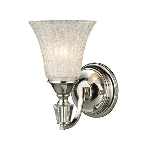 """10"""" ELK Lighting Lincoln Square 1-Light Wall Lamp in Polished Nickel with Clear Crystal, Traditional - 1"""