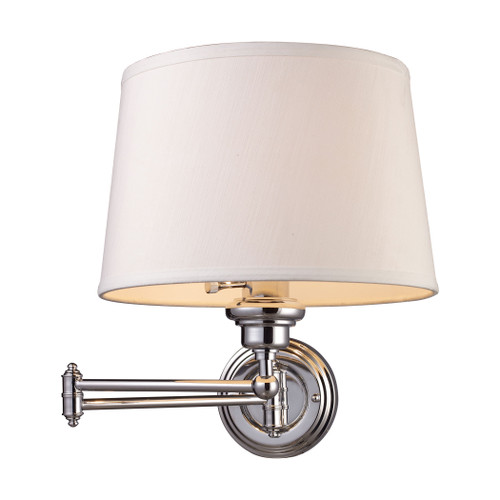 """15"""" ELK Lighting Westbrook 1-Light Swingarm Wall Lamp in Polished Chrome with Off-white Shade, Transitional - 1"""