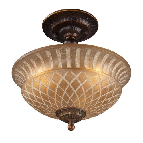"10"" ELK Lighting Restoration 3-Light Semi Flush in Golden Bronze with Amber Glass, Traditional - 1"
