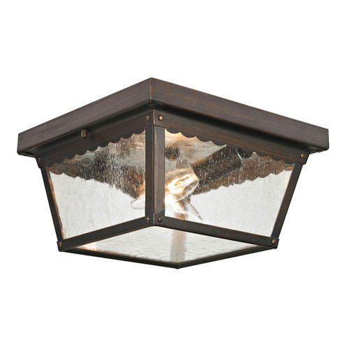 """10"""" Thomas Lighting Springfield 2-Light Flush Mount in Hazelnut Bronze with Seeded Glass, Traditional - 1"""