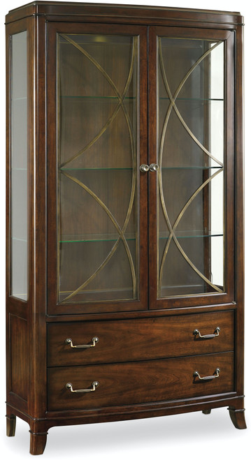 "82"" Hooker Furniture Dining Room Two-Drawer Palisade Display China Cabinet - 1"