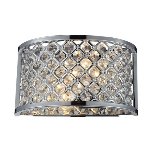 "10"" ELK Lighting Genevieve 2-Light Sconce in Polished Chrome with Crystal and Mesh Shade, Modern / Contemporary - 1"