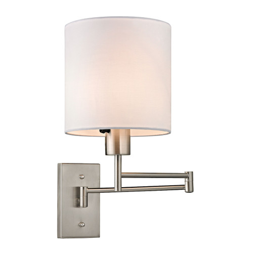 """15"""" ELK Lighting Carson 1-Light Swingarm Wall Lamp in Brushed Nickel with White Shade, Transitional - 1"""