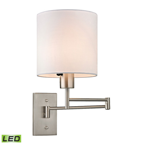 """15"""" ELK Lighting Carson 1-Light Swingarm Wall Lamp in Brushed Nickel with White Shade - Includes LED Bulb, Transitional - 1"""