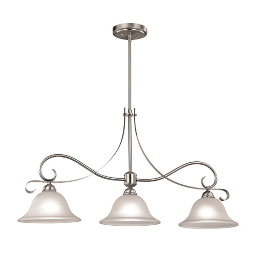 "36"" Thomas Lighting Brighton 3-Light Island Light in Brushed Nickel with White Glass, Traditional - 1"