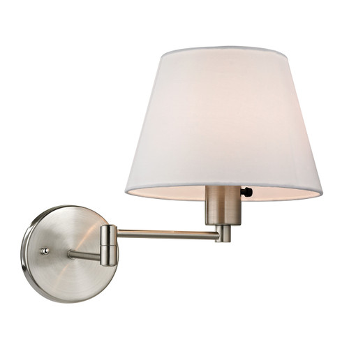 """12"""" ELK Lighting Avenal 1-Light Swingarm Wall Lamp in Brushed Nickel with White Fabric Shade, Transitional - 1"""