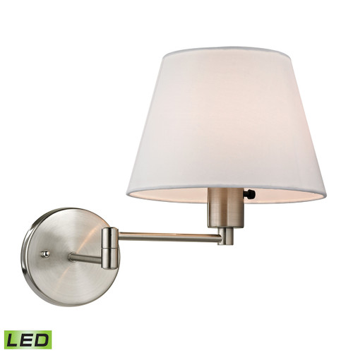 """12"""" ELK Lighting Avenal 1-Light Swingarm Wall Lamp in Brushed Nickel with White Fabric Shade - Includes LED Bulb, Transitional - 1"""
