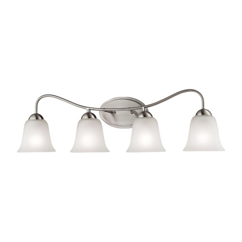 "32"" Thomas Lighting Conway 4-Light Bath Bar in Brushed Nickel with White Glass, Traditional - 1"