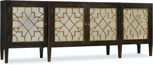 """38"""" Hooker Furniture Living Room Sanctuary Four Door Mirrored Console Cabinet - Ebony - 1"""