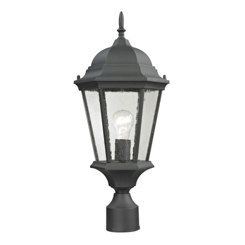 Temple Hill 1 Light Outdoor Pendant In Matte Textured Black 1