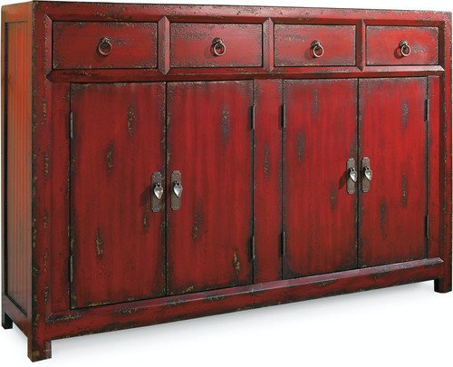 "40"" Hooker Furniture Living Room Four-Drawer Red Asian Credenza Cabinet - 1"