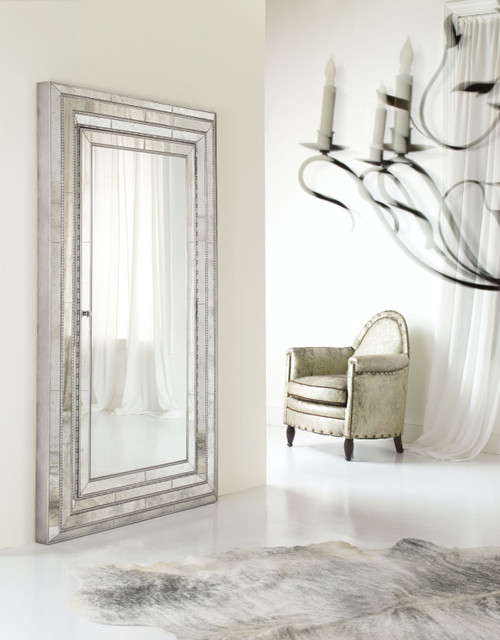 """82"""" Hooker Furniture Accents Melange Glamour Floor Mirror with Jewelry Armoire Storage - 1"""