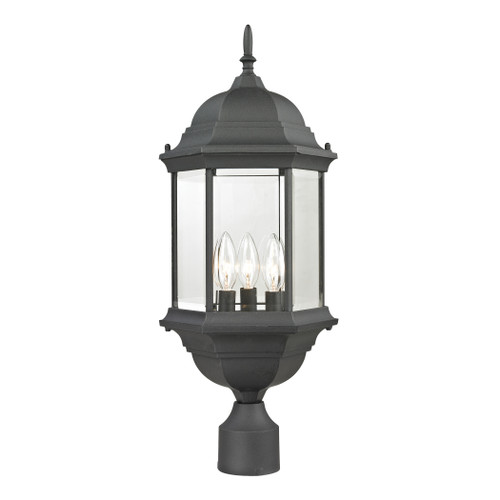 Spring Lake 3 Light Outdoor Post Lamp In Matte Textured Black