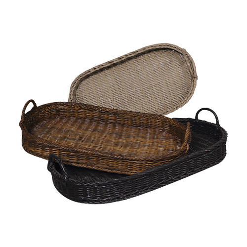 "Set of 3 ELK Home Oval Rattan Signature Black, Woodlands Dark Stain, and Italian Slate Oval Ratta, Traditional 33"" - 1"