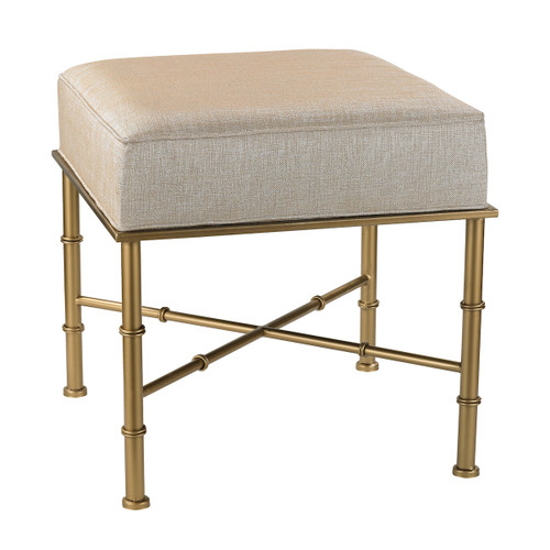 "18"" ELK Home Gold Cane Bench in Cream Metallic Linen, Transitional - 1"