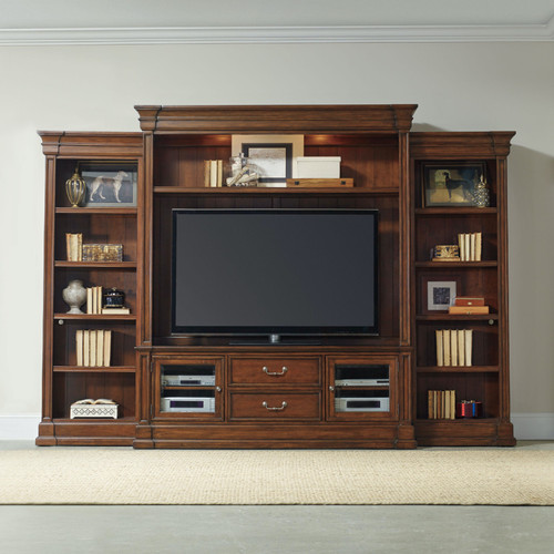 """89"""" Hooker Furniture Home Entertainment Clermont Four Piece Wall Unit - 1"""