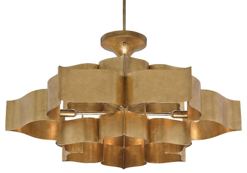 """30"""" Currey and Company Grand Lotus Gold Large Chandelier - 1"""