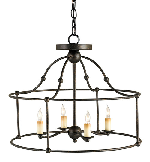 "20"" Currey and Company Fitzjames Black Small Lantern - 1"