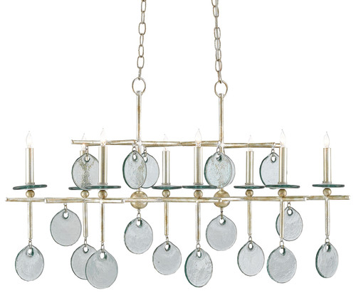 "42"" Currey and Company Sethos Silver Rectangular Chandelier - 1"