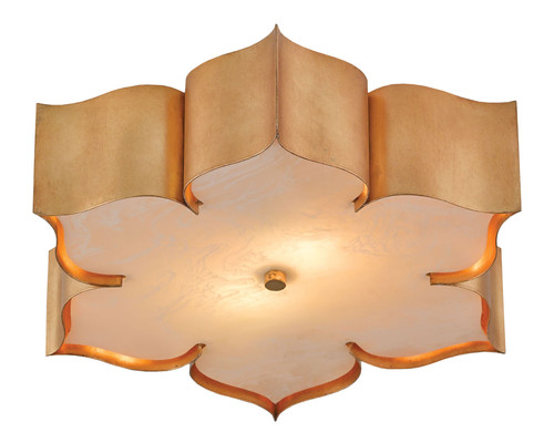 "19"" Currey and Company Grand Lotus Gold Flush Mount - 1"