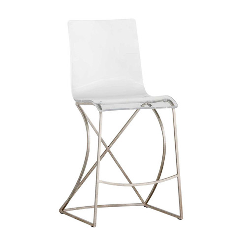Johnson Acrylic And Silver Counter Stool