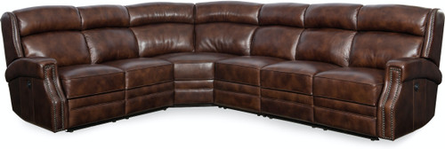 4-Piece Hooker Furniture Living Room Carlisle Sectional with 3 Power Recliner and Headrest - 1